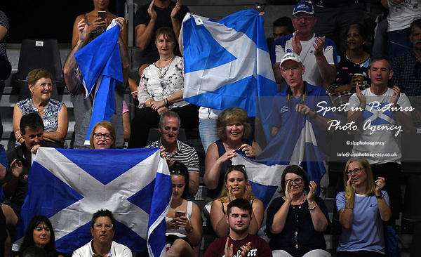 The Scottish fans. Badminton. Mixed team event. XXI Commonwealth games. Carrara Sports hall 2. Gold Coast 2018. Queensland. Australia. 05/04/2018. ~ MANDATORY CREDIT Garry Bowden/SIPPA - NO UNAUTHORISED USE - +44 7837 394578