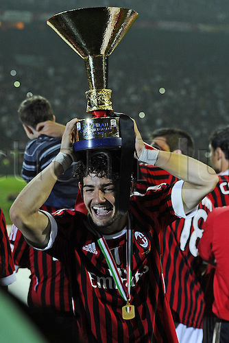 14 05 2011 Milan, Italy.  Series A Milan Cagliari  Photo Alexandre Pato with the trophy on his head . AC Milan drew 0-0 with Cagliari but won the Serie A tile for the 18th time.