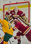 19 February 2016: Boston College Eagle Goaltender Thatcher Demko, a Junior from San Diego, CA, in action during the second period against the University of Vermont Catamounts at Gutterson Fieldhouse in Burlington, Vermont. The Eagles defeated the Catamounts 3-1 in the first game of their weekend series. Mandatory Credit: Ed Wolfstein Photo *** RAW (NEF) Image File Available ***