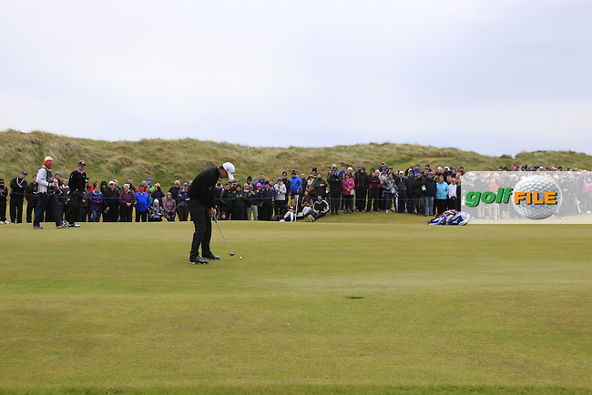 Padraig HARRINGTON (IRL) putts on the 1st green during Saturday's Round 3 of the 2015 Dubai Duty Free Irish Open, Royal County Down Golf Club, Newcastle Co Down, Northern Ireland 5/30/2015<br /> Picture Eoin Clarke, www.golffile.ie