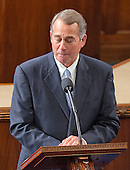 The Speaker of the United States House of Representatives John Boehner (Republican of Ohio) speaks to his colleagues from the well of the US House to announce his resignation in the US House Chamber in the US Capitol in Washington, DC on October 29, 2015.<br /> Credit: Ron Sachs / CNP