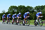 Groupama-FDJ in action during Stage 3 of the 2018 Tour de France a Team Time Trial running 35.5km from Cholet to Cholet (35,5km, France. 9th July 2018. <br /> Picture: ASO/Alex Broadway | Cyclefile<br /> All photos usage must carry mandatory copyright credit (&copy; Cyclefile | ASO/Alex Broadway)