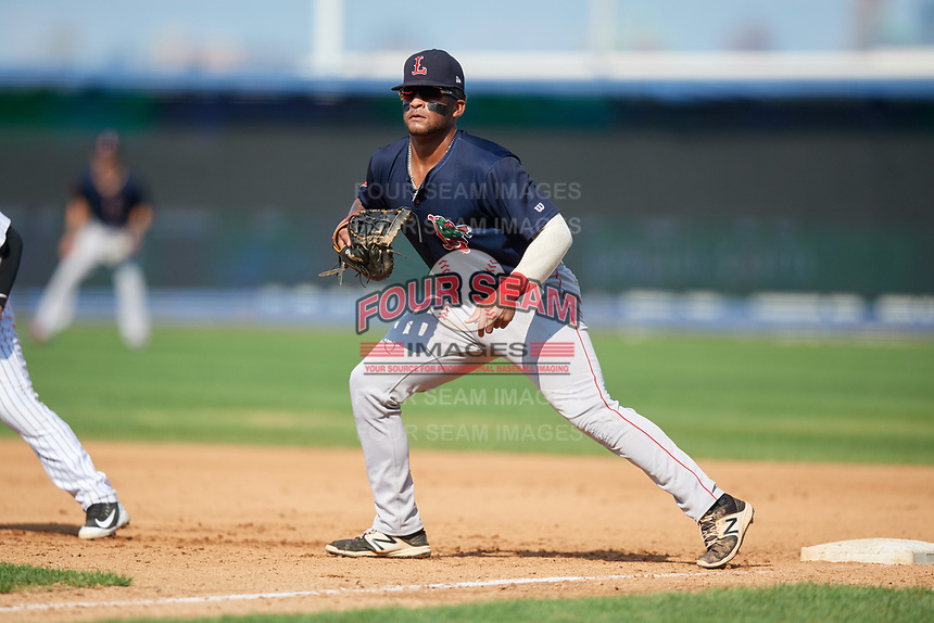 Lowell Spinners first baseman Trey Ganns (28) during a game against the Staten Island Yankees on August 22, 2018 at Richmond County Bank Ballpark in Staten Island, New York.  Staten Island defeated Lowell 10-4.  (Mike Janes/Four Seam Images)