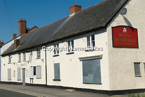 Royal Huntsman public house Williton Somerset Uk. Quantocks. Village pub closed down out of business.