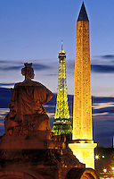France, Paris. View of the Place de la Concorde and the Obelisk and Eiffel Tower
