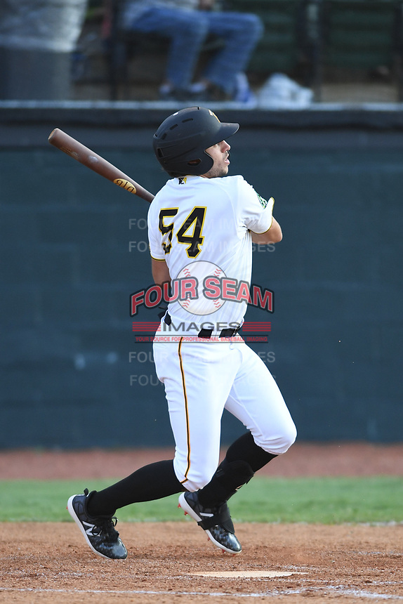 Bristol Pirates Marshall Gilbert (54) follows through on his swing against the Pulaski Yankees at Boyce Cox Field on July 8, 2019 in Bristol, Virginia. The Yankees defeated the Pirates 5-0. (Tracy Proffitt/Four Seam Images)
