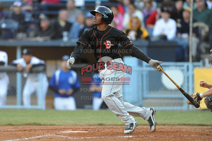 Delmarva Shorebirds shortstop Mychal Givens #1 swings at a pitch during a game between the Delmarva Shorebirds and the Asheville Tourists at McCormick Field, Asheville, North Carolina April 6, 2012. The Shorebirds won the game 7-2  (Tony Farlow/Four Seam Images)..