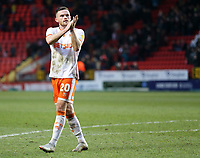 Blackpool's Oliver Turton applauds the fans at the final whistle <br /> <br /> Photographer David Shipman/CameraSport<br /> <br /> The EFL Sky Bet League One - Charlton Athletic v Blackpool - Saturday 16th February 2019 - The Valley - London<br /> <br /> World Copyright © 2019 CameraSport. All rights reserved. 43 Linden Ave. Countesthorpe. Leicester. England. LE8 5PG - Tel: +44 (0) 116 277 4147 - admin@camerasport.com - www.camerasport.com