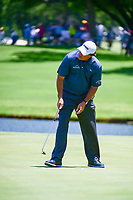 Phil Mickelson (USA) watches his 32' 10&quot; birdie putt on 9 roll into the cup during the round 1 of the Dean &amp; Deluca Invitational, at The Colonial, Ft. Worth, Texas, USA. 5/25/2017.<br /> Picture: Golffile | Ken Murray<br /> <br /> <br /> All photo usage must carry mandatory copyright credit (&copy; Golffile | Ken Murray)