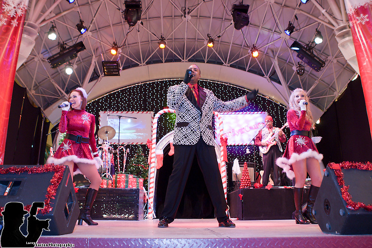 Mayor Oscar B. Goodman brings holiday cheer to the Fremont Street Experience when he fliped the switch to light Las Vegas' official Christmas tree. The 50-foot tree is garnished with festive decorations and stands below the 12.5 million lights of the Viva Vision screen. Directly following the ceremony, the Candy & The Canes show performed, a live song and dance show to holiday music hits.