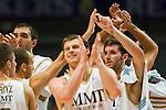 Los jugadores del Real Madrid celebrando el triunfo sobre el Baloncesto Fuenlabrada al finalizar el encuentro.09  Octubre 2011. Palacio de los Deportes...Photo: Marcos / ALFAQUI