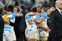 Argentina players embrace after the match. Rugby World Cup Bronze Final between South Africa and Argentina on October 30, 2015 at The Stadium, Queen Elizabeth Olympic Park in London, England. Photo by: Patrick Khachfe / Onside Images