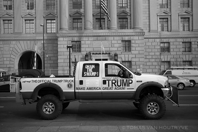 A 4x4 pick truck with pro-Trump messages is parked a few blocks from the White House in Washington, DC on the eve of Inauguration Day, Jan. 19, 2017.