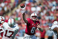 STANFORD, CA- April 13, 2013- The Stanford Cardinal and Whites Spring Game. Kevin Hogan makes a pass during the Cardinal and White spring game. <br /> <br /> isiphotos.com
