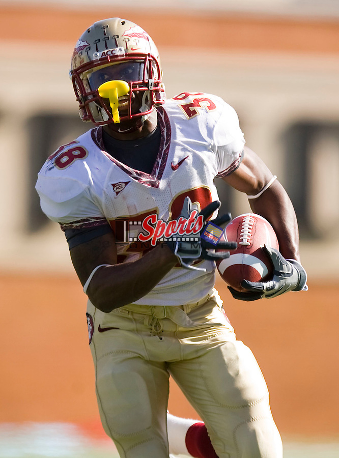 WINSTON SALEM, NC - NOVEMBER 14:  Darren Edwards #38 breaks free for a portion of his 155 yards rushing against the Wake Forest Demon Deacons at BB&T Field on November 14, 2009 in Winston Salem, North Carolina.  The Seminoles defeated the Demon Deacons 41-28.  Photo by Brian Westerholt / Sports On Film