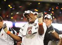 Jan 10, 2011; Glendale, AZ, USA; Auburn Tigers defensive tackle Nick Fairley (90) celebrates following the game against the Oregon Ducks in the 2011 BCS National Championship game at University of Phoenix Stadium. Auburn defeated Oregon 22-19. Mandatory Credit: Mark J. Rebilas-