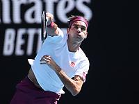 28th January 2020; Melbourne Park, Melbourne, Victoria, Australia; Australian Open Tennis, Day 9; Roger Federer of Switzerland serves during his match against Tennys Sandgren of USA