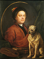 William Hogarth:  The Painter and his Pug, 1745.  Tate Gallery--London. Reference only.