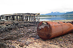 Alaska, abandoned cannery, while cruising the Southeast wilderness waterways on the Spirit of Discovery..Morning fog view in Bay of Pillars and then excursions to shore in durable inflatable boats to see bullwhip kelp, seashore life, seaweed, kelp, barnacles on rocks. forests of Tongass National Forest, and abandoned salmon cannery with its rusting equipment. .Photo copyright Lee Foster, 510/549-2202, lee@fostertravel.com, www.fostertravel.com.