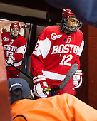 Garrett Noonan (BU - 13), Yasin Cissé (BU - 12) - The Boston College Eagles defeated the visiting Boston University Terriers 5-2 on Saturday, December 1, 2012, at Kelley Rink in Conte Forum in Chestnut Hill, Massachusetts.