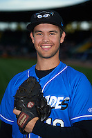 Hudson Valley Renegades pitcher Reece Karalus (19) poses for a photo before a game against the Vermont Lake Monsters on September 3, 2015 at Centennial Field in Burlington, Vermont.  Vermont defeated Hudson Valley 4-1.  (Mike Janes/Four Seam Images)