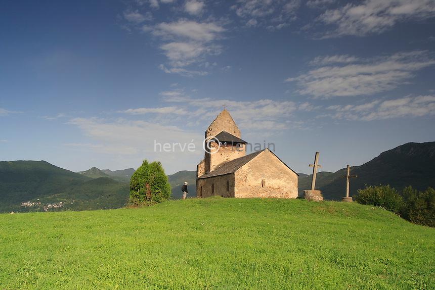 France, Ariège (09), Engomer, hameau de Loutrein, chapelle Saint-Michel // France, Ariege, Engomer, hamlet of Loutrein, chapel Saint-Michel