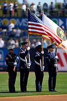 New York Yankees flag presentation for the national anthem before a Spring Training game against the Toronto Blue Jays on February 22, 2020 at the George M. Steinbrenner Field in Tampa, Florida.  (Mike Janes/Four Seam Images)