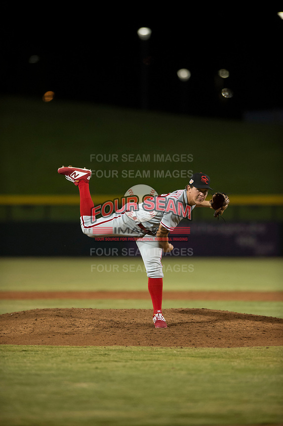 Scottsdale Scorpions relief pitcher Seth McGarry (72), of the Philadelphia Phillies organization, follows through on his delivery during an Arizona Fall League game against the Mesa Solar Sox at Sloan Park on October 10, 2018 in Mesa, Arizona. Scottsdale defeated Mesa 10-3. (Zachary Lucy/Four Seam Images)