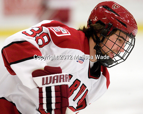 Conor Morrison (Harvard - 38) - The Harvard University Crimson defeated the visiting Yale University Bulldogs 8-2 in the third game of their ECAC Quarterfinal matchup on Sunday, March 11, 2012, at Bright Hockey Center in Cambridge, Massachusetts.