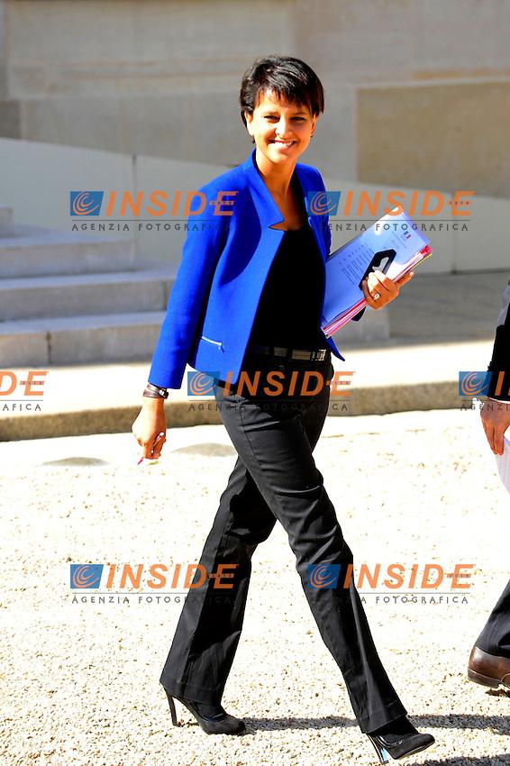 Conseil des Ministres Najat Vallaud-Belkacem Ministre des Droits des femmes porte-parole du Gouvernement a L Elysee. .Parigi 29/8/2012.Consiglio dei Ministri.Foto Insidefoto / Gerard Roussel / Panoramic