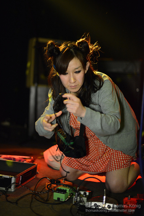 Kaohsiung, Taiwan -- Japanese girl duo ZARIGANI DOLLAR from Tokyo perform live at the Rocks on May 10, 2014, as part of the 'Noise Explosion Tour'.<br />