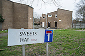 Empty housing on Sweets Way estate in Whetstone, Barnet, London.  Many former tenants are now living in emergency accommodation outside the borough following evictions in advance of demolition and redevelopment by Annington, a subsidiary of private equity investors Terra Firma.