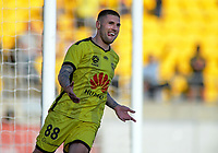 Phoenix's Gary Hooper celebrates scoring the opening goal during the A-League football match between Wellington Phoenix and Central Coast Mariners at Westpac Stadium in Wellington, New Zealand on Saturday, 4 January 2020. Photo: Dave Lintott / lintottphoto.co.nz