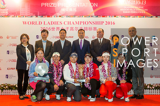 Prize giving ceremony of the World Ladies Championship 2016 on 13 March 2016 at Mission Hills Olazabal Golf Course in Dongguan, China. Photo by Victor Fraile / Power Sport Images