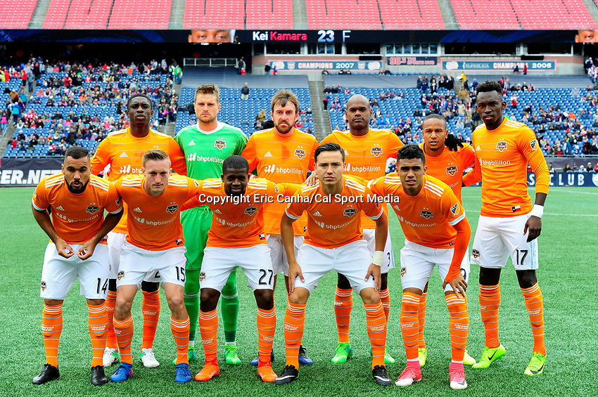 Saturday, April 8, 2017: The Houston Dynamo pose for a team photo before the MLS game between Houston Dynamo and the New England Revolution held at Gillette Stadium in Foxborough Massachusetts. New England defeats Houston 2-0. Eric Canha/CSM