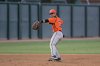 AZL Giants Orange shortstop Anyesber Sivira (32) prepares to make a throw to first base during an Arizona League game against the AZL Athletics at Lew Wolff Training Complex on June 25, 2018 in Mesa, Arizona. AZL Giants Orange defeated the AZL Athletics 7-5. (Zachary Lucy/Four Seam Images)