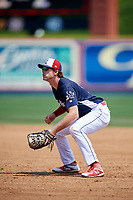 Reading Fightin Phils first baseman Zach Green (12) during the first game of a doubleheader against the Portland Sea Dogs on May 15, 2018 at FirstEnergy Stadium in Reading, Pennsylvania.  Portland defeated Reading 8-4.  (Mike Janes/Four Seam Images)