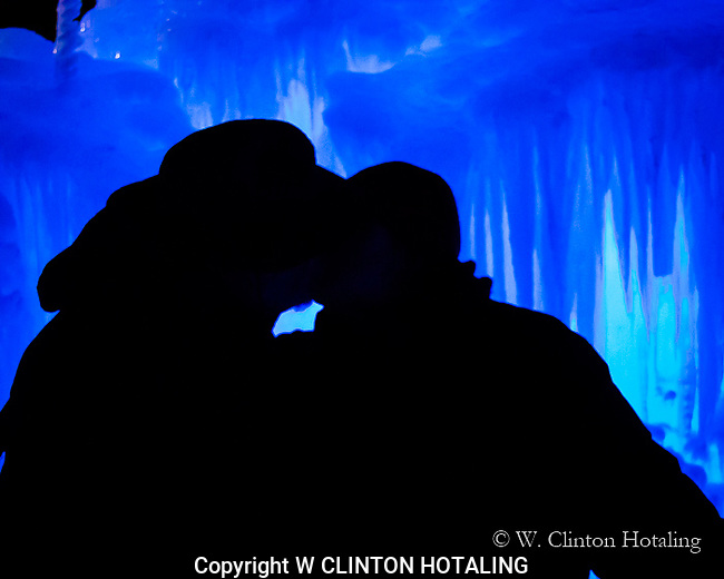 Couple kissing in the Ice Castle