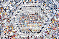 3rd century AD Roman mosaic panel of fruit in a basket from Thugga, Tunisia.  The Bardo Museum, Tunis, Tunisia.