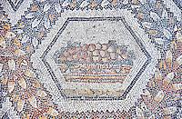 3rd century AD Roman mosaic panel of fruit in a basket from Thugga, Tunisia.  The Bardo Museum, Tunis, Tunisia.