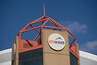 Enwave logo is seen in Toronto April 22, 2010. A private corporation jointly owned by the City of Toronto and the Ontario Municipal Employees Retirement System, Enwave Deep Lake Water Cooling system uses cold water from Lake Ontario to cool buildings in downtown Toronto.