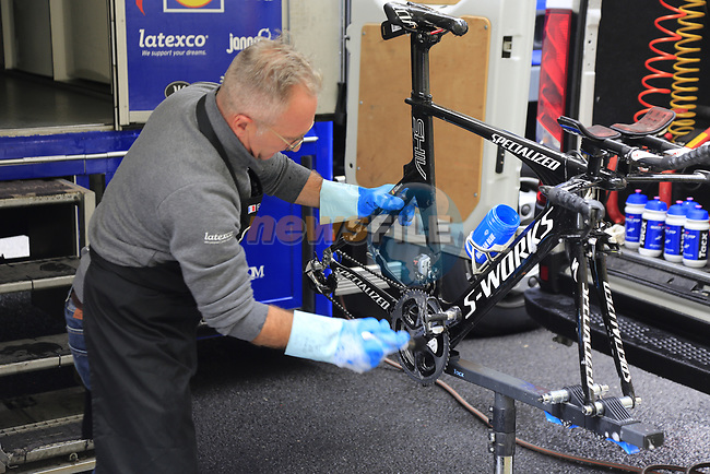 Quick-Step Floors mechanics hard at work before Stage 1, a 14km individual time trial around Dusseldorf, of the 104th edition of the Tour de France 2017, Dusseldorf, Germany. 1st July 2017.<br /> Picture: Eoin Clarke | Cyclefile<br /> <br /> <br /> All photos usage must carry mandatory copyright credit (&copy; Cyclefile | Eoin Clarke)