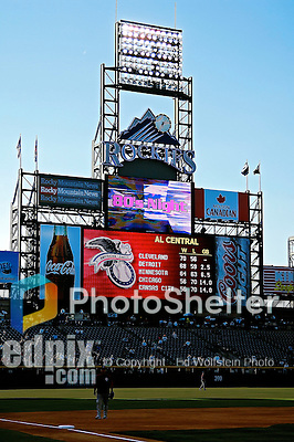 24 August 2007:  The scoreboard at Coors Field displays information prior to a game between the Colorado Rockies and the Washington Nationals in Denver, Colorado. The Rockies rallied with 5 runs in the bottom of the 9th inning to defeat the Nationals 6-5 in the first game of their 3-game series...Mandatory Photo Credit: Ed Wolfstein Photo