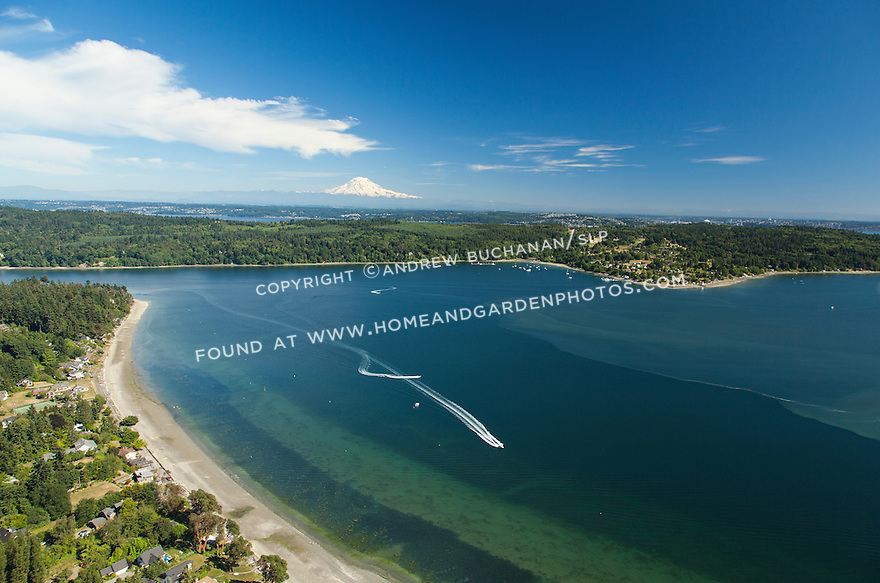 aerial view of Vashon Island and Mt. Rainier behind, WA