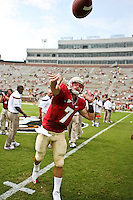 September 04, 2010:   Florida State Seminoles quarterback Christian Ponder (7) warms up prior to the start of first half action between the Florida State Seminoles and the Samford Bulldogs at Doak Campbell Stadium in Tallahassee, Florida.  Florida State defeated Samford 59-6.