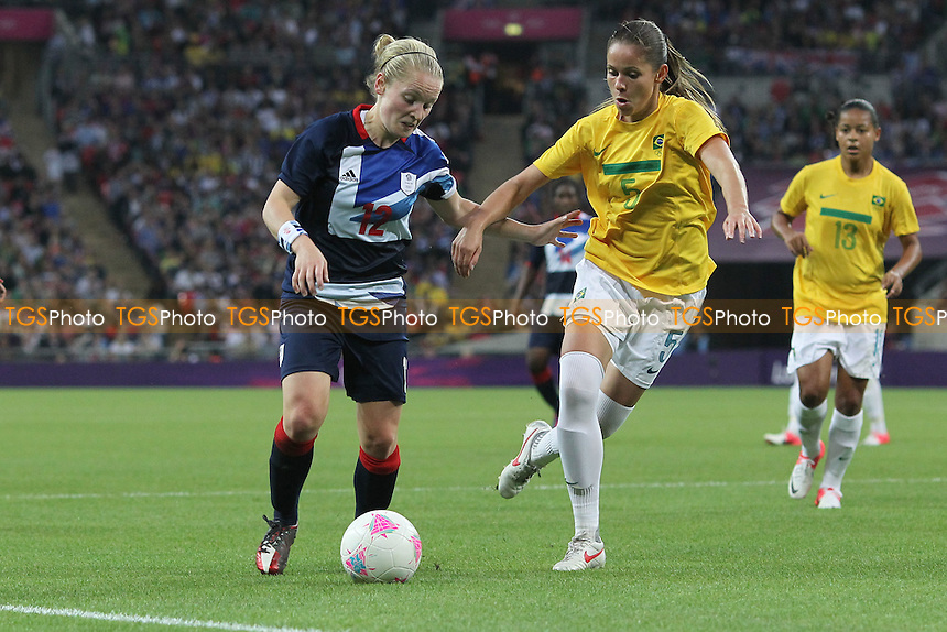 Kim LITTLE of Great Britain and ERIKA of Brazil - Great Britain Women vs Brazil Women - Womens Olympic Football Tournament London 2012 Group E at Wembley Stadium, London - 31/07/12 - MANDATORY CREDIT: Gavin Ellis/SHEKICKS/TGSPHOTO - Self billing applies where appropriate - 0845 094 6026 - contact@tgsphoto.co.uk - NO UNPAID USE.
