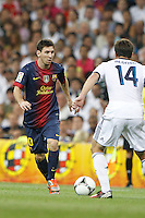 29.08.2012 Spain Supercopa, Real Madrid won (2-1) at Barcelona and was presented on goalaverage to win its ninth Supercopa of Spain) at Santiago Bernabeu stadium. The picture show Lionel Andres Messi (Argentine forward of Barcelona)