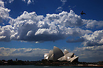 Sydney Harbour and Opera House with clouds. Sydney, Australia. Friday 20th September 2013.