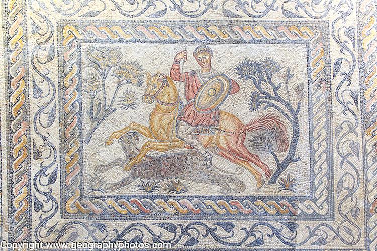 Hunting mosaic, Museo Nacional de Arte Romano, national museum of Roman art, Merida, Extremadura, Spain