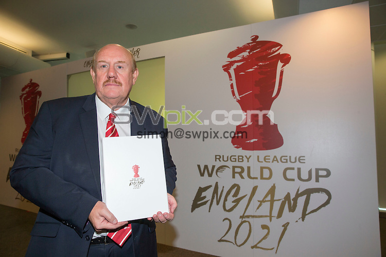 Picture by Paul Currie/SWpix.com - 30/06/2016 - Rugby League - England 2021 Rugby League World Cup Bid - Old Trafford, Manchester - Chairman of the RFL Brian Barwick announces England's bid for the 2021 Rugby League World Cup